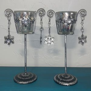 Set of Snowflake Mercury Glass Candle Holders
